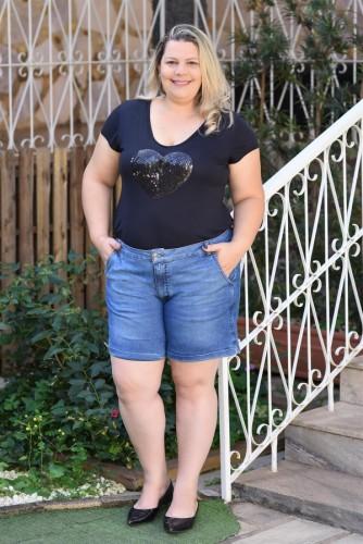Bermuda Feminina  Jeans Plus Size Alfaiataria Com Bolso Faca