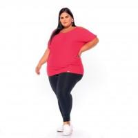 Blusa Plus Size Viscolycra Lisa Com Corrente De Ouro