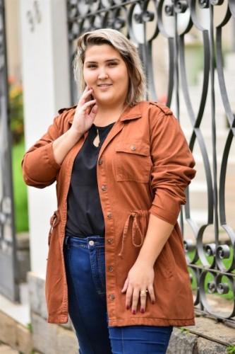 Parka Jaqueta Casaco Jeans Feminina Plus Size Colorida