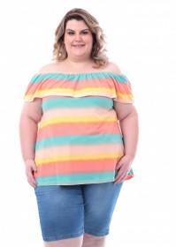 Blusa Plus Size Ciganinha Estampada Tie Dye